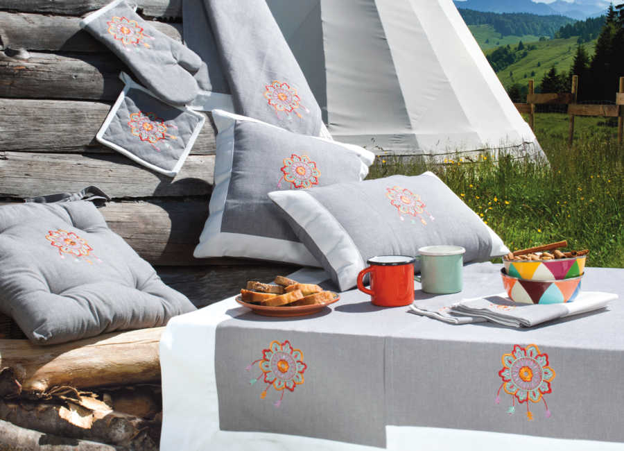 Collection linge de table Montagne Cheyenne Ardoise