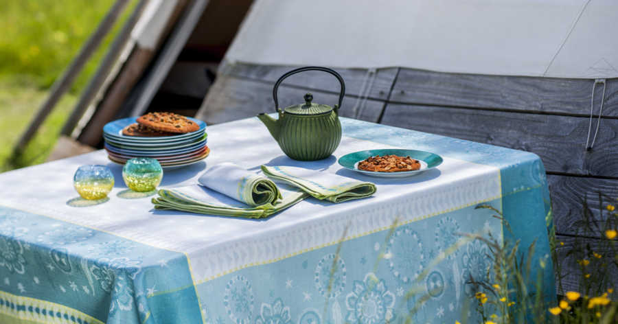 Collection linge table jacquard Cheynne Turquoise